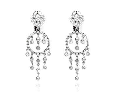 Small Heart Chandelier Diamond Drop Earring