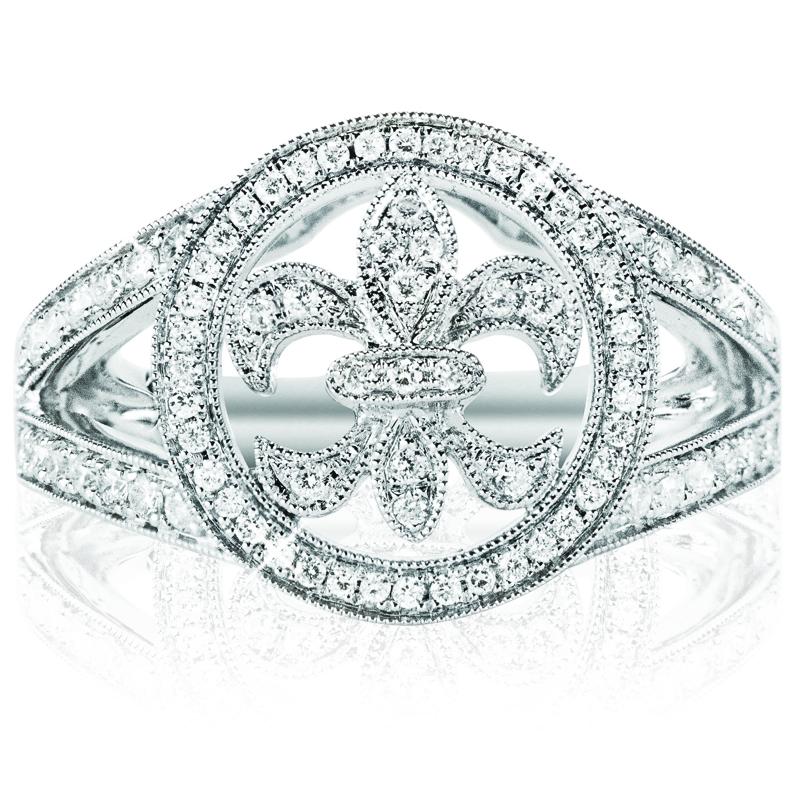 Circle Fleur de-lis Ring