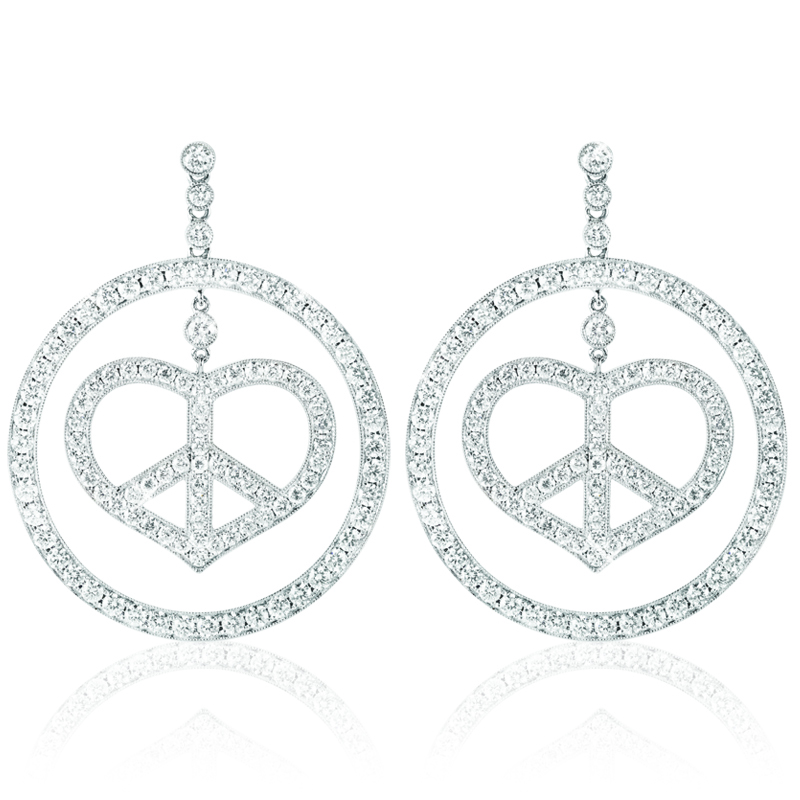 Heart in one Circle Earring