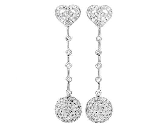 Small Heart Diamond Disco Drop Earring
