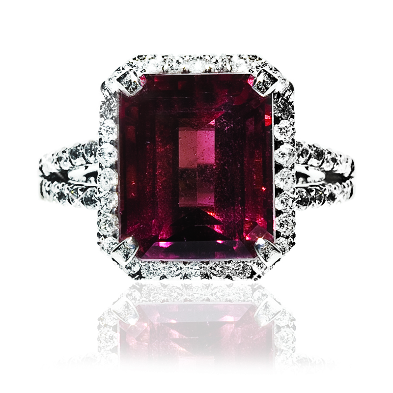 Pink Sapphire Ring with micro pave diamonds