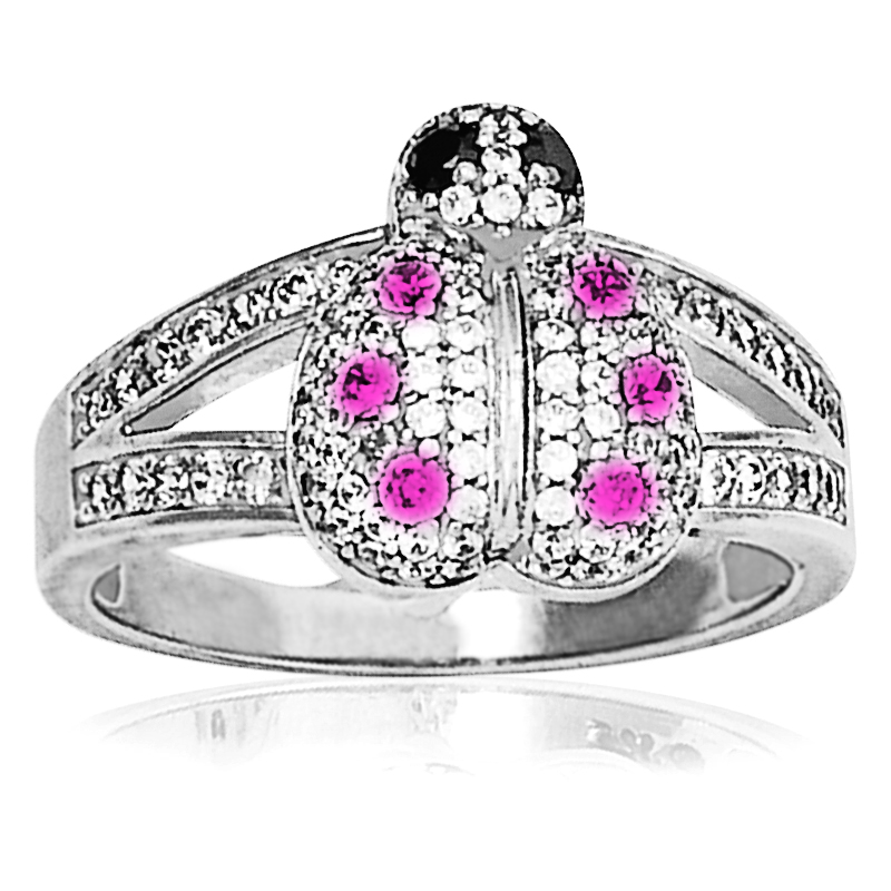 Lady Bug Ring with diamonds & pink sapphires