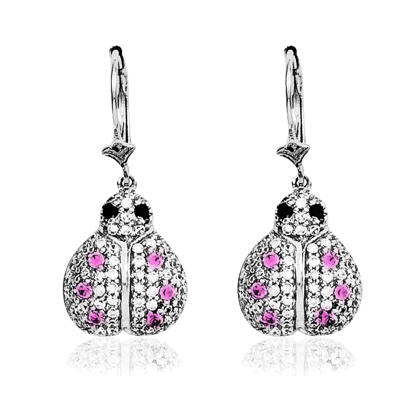 Lady Bug Earring with Diamonds & Pink Sapphire
