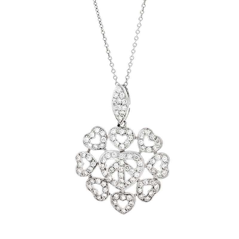 SFHP: 18k white Gold Small Floating Heart Necklace 0.88ct