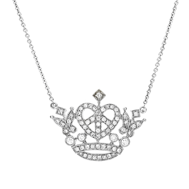 Large Royal Crown Heart Necklace