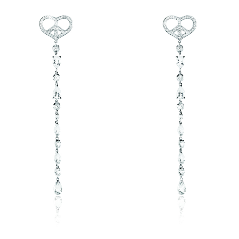 Small Heart 7 Diamond White Topaz Drop Earring