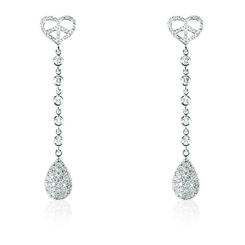 Small heart with diamonds & diamond drop briolet earring