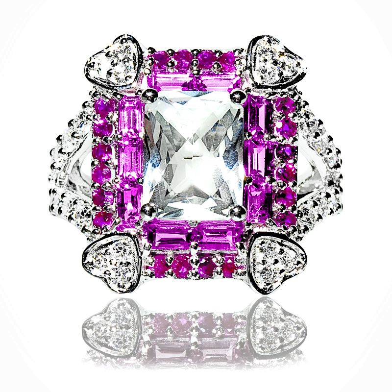 4 Small Heart Pink Sapphire & White Topaz Ring