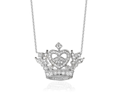 Small Royal Crown Heart Necklace