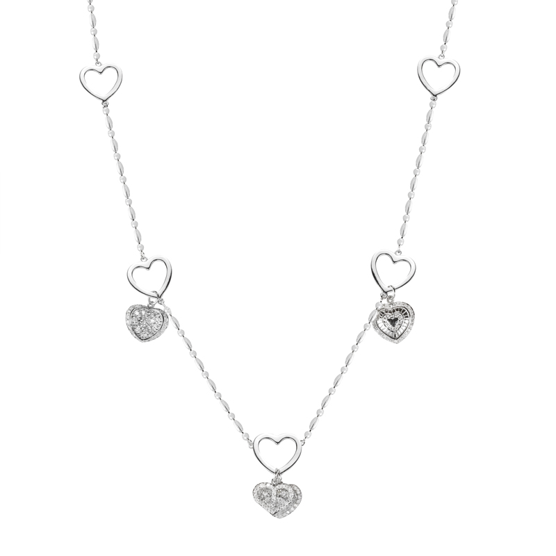 "Sterling Silver 4 Heart Necklace 36"" length"