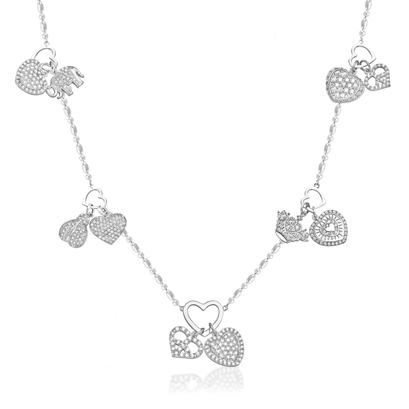 "Sterling Silver Necklace with Good Luck Charms 36""length"