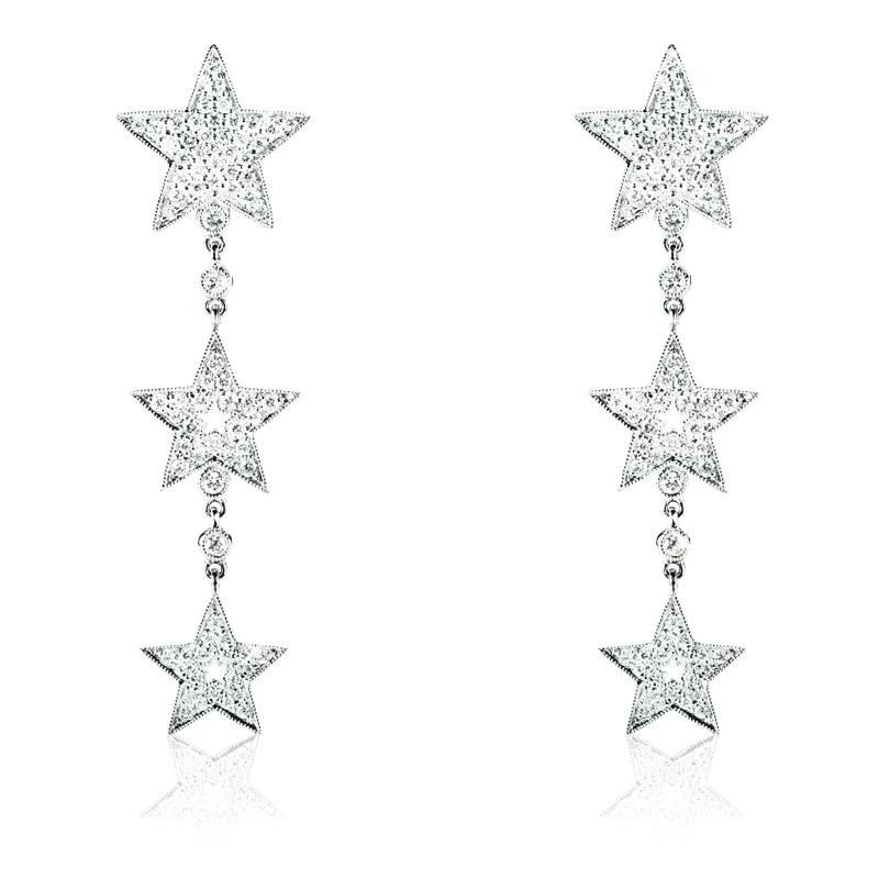 Triple Diamond Star Drop Earring