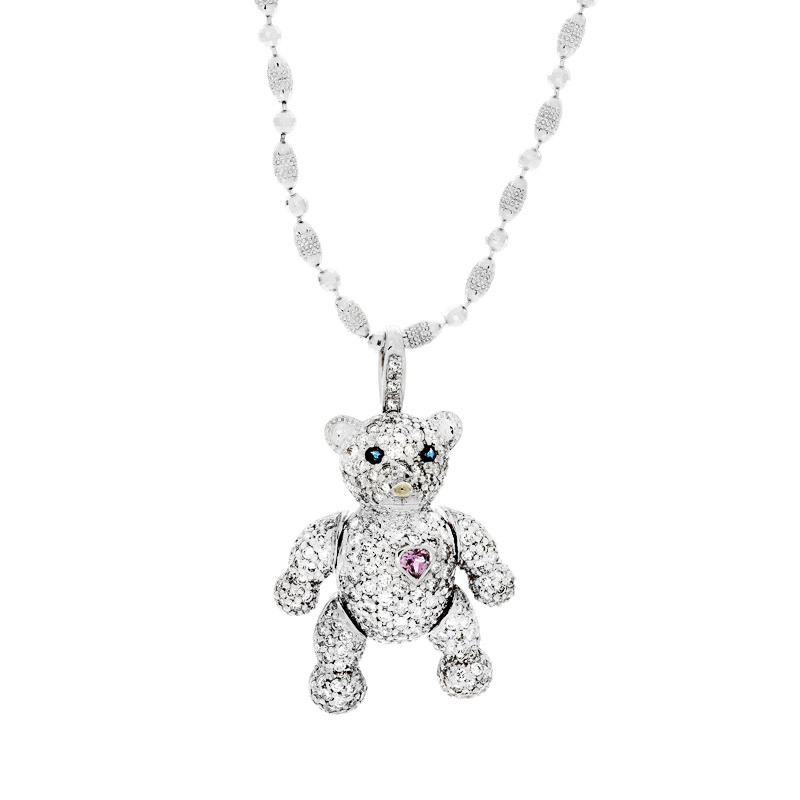 Teddy Bear Pendant with Pink Heart