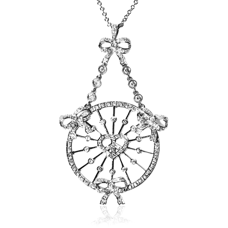 Heart & Bow Necklace with Lattice work