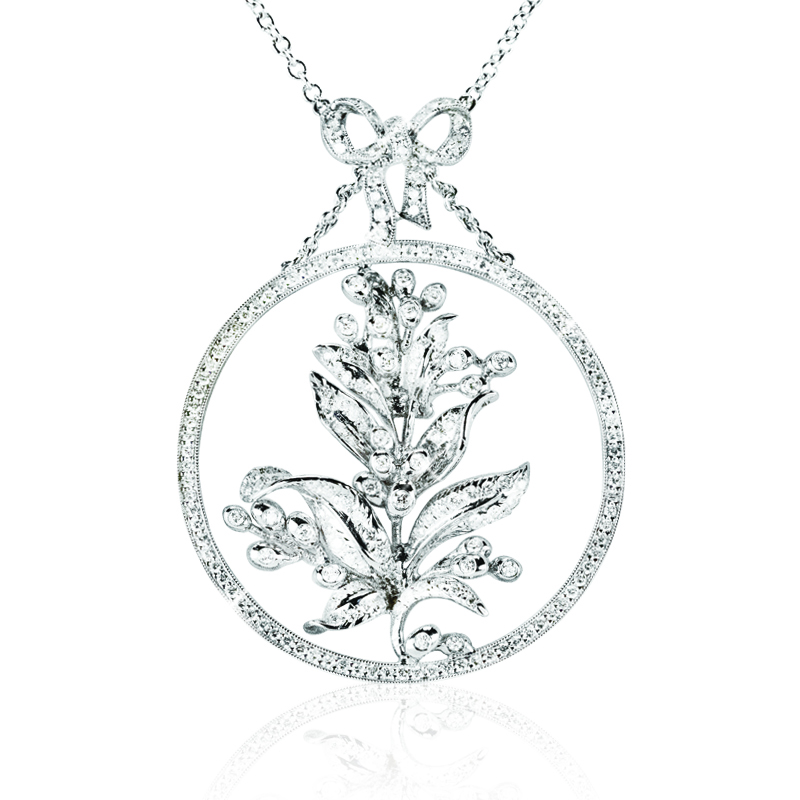 Diamond Olive Branch in Circle with Necklace