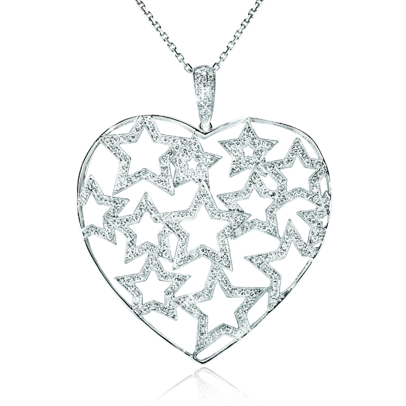 Large Heart with diamond stars Pendant